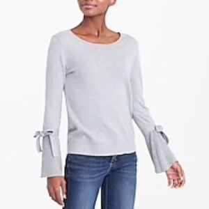 j. crew   Tie Bell Sleeve Soft Sweater in Gray